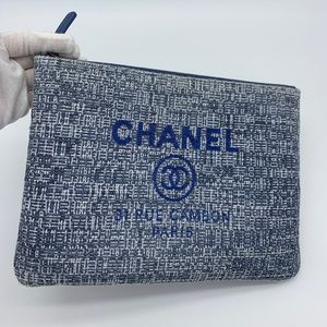 💜Rare💜Chanel tweed blue Pouch/Clutch